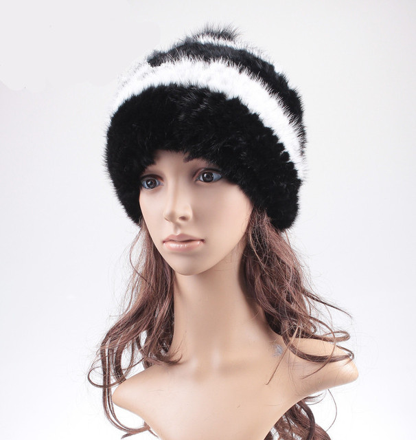 H906- new 2015 fashion  knitted mink cap with fox fur pompom .wholesale women's autumn winter natural fur hat