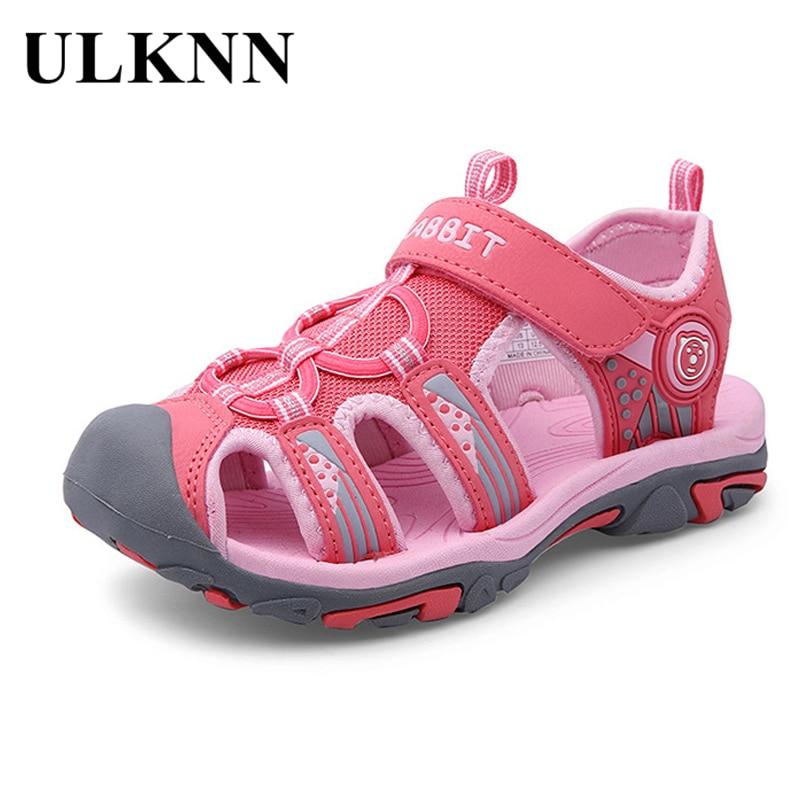 ULKNN Summer Closed-Toe Kids Sandals For Boys Shoes Girls Sandals Children Beach Sandal Cut-out Breathable Mesh School sandalias