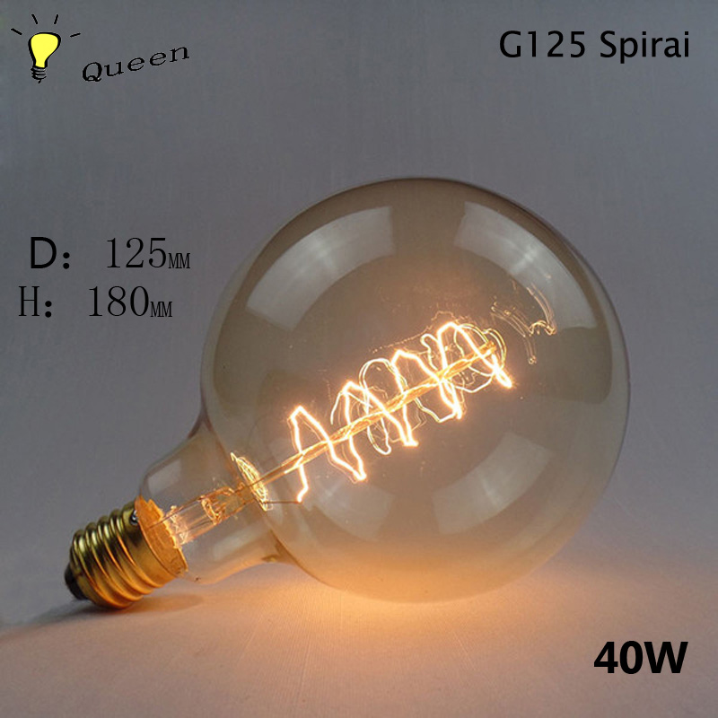 G125 G95 G80 E27 Edison Lamp 220V Vintage Light Blub 40w Lampada Light Incandescent Filament Edison Bulb Retro Lamp Home Lights