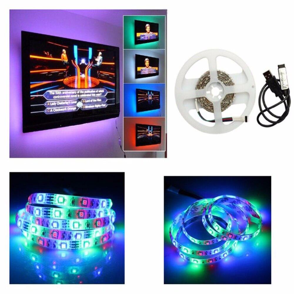 1M/2M USB LED strip 5050 IP65 Waterproof 30/60LED/M DC 5V Flexible LED Light Strip RGB Warm White Blue led TV BackLighting