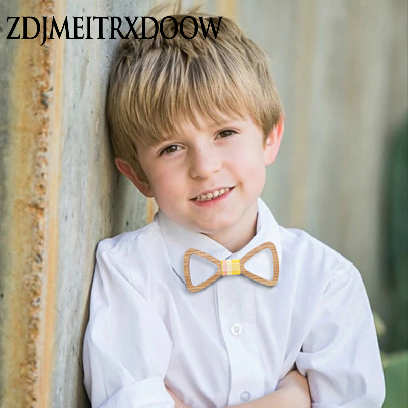 New Arrival Cute Kids Boys Wood Bow Tie Children Butterfly Type Hollow Out Black Walnut Bow Ties Girl Boys Wooden Bow Ties