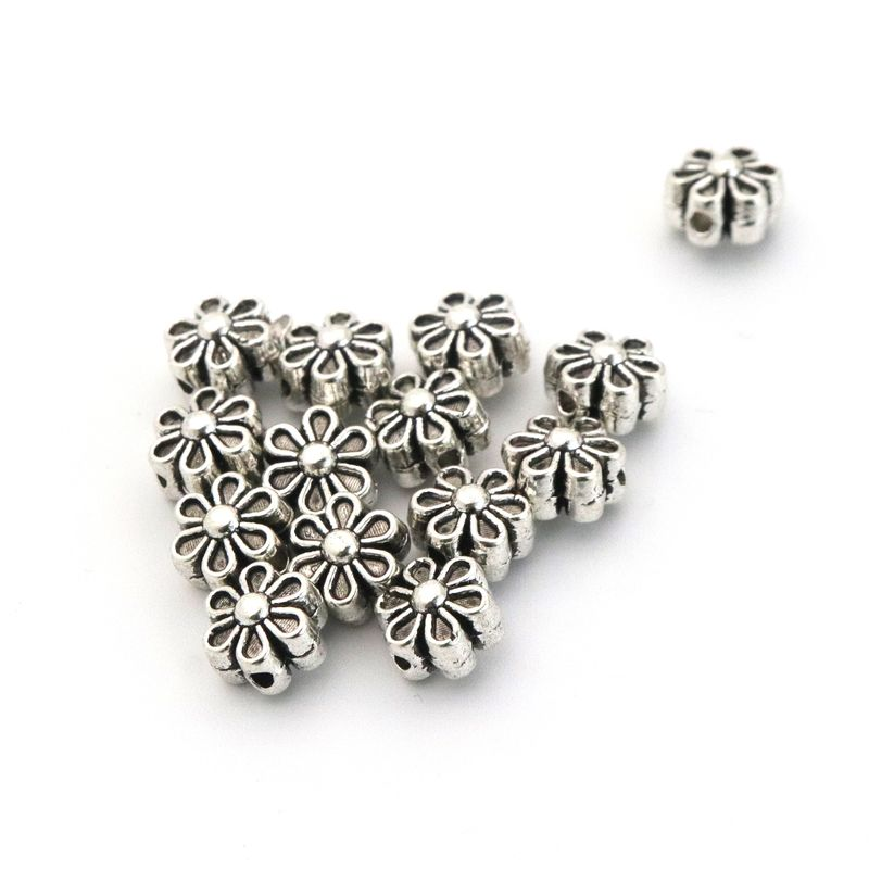 12 New Flower Heart Round Charms Tibetan Silver Tone Spacer Beads 10mm
