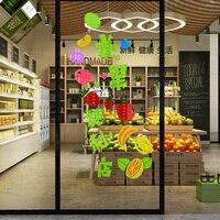 Trái cây tường cửa hàng 3D trang trí stickers bố trí trái cây tươi dán tiện lợi cửa sổ cửa hàng kính dán cửa