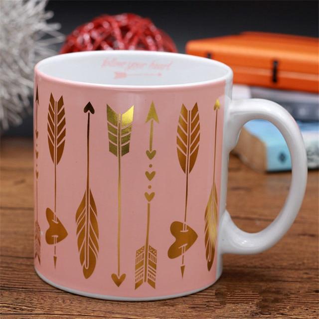 New Pink Arrow Pattern Milk Ceramic Mugs Coffee Large Capacity Porecelain Mug Tea With