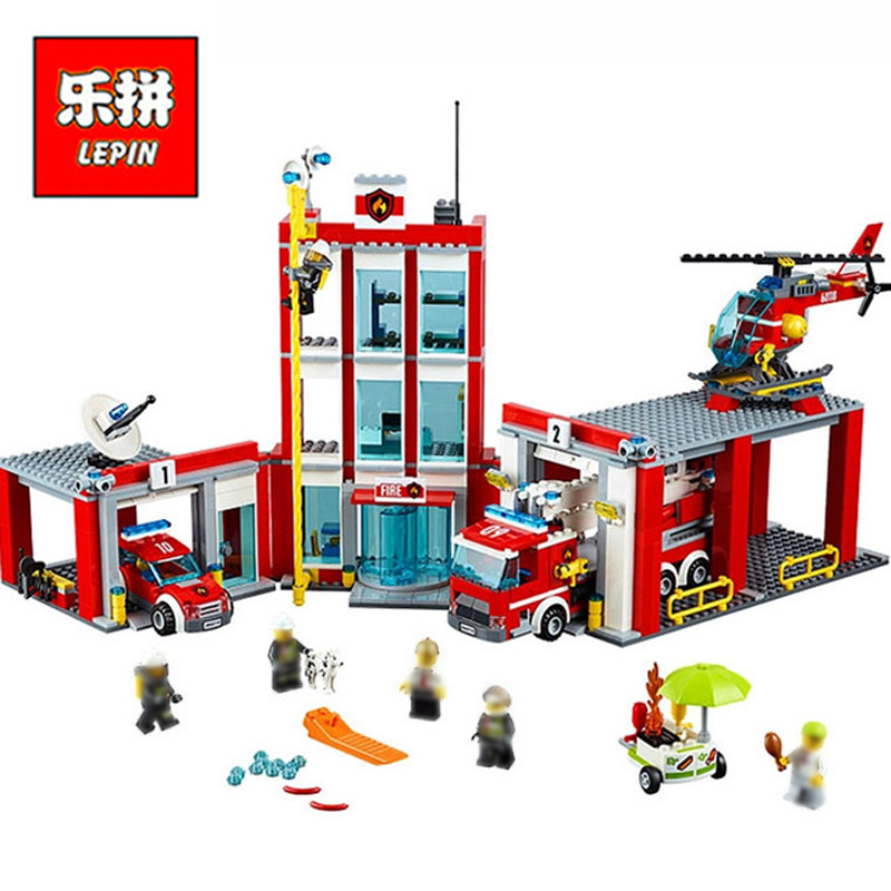 In Stock Lepin Sets 02052 1029Pcs City Figures Fire Station Model Building Kits Blocks Bricks Educational Kids Toys Gift 60110 ac 120v 100w hand hold electric heating knife hot cutting knife professional thermal cutter for wallcloth cable curtain