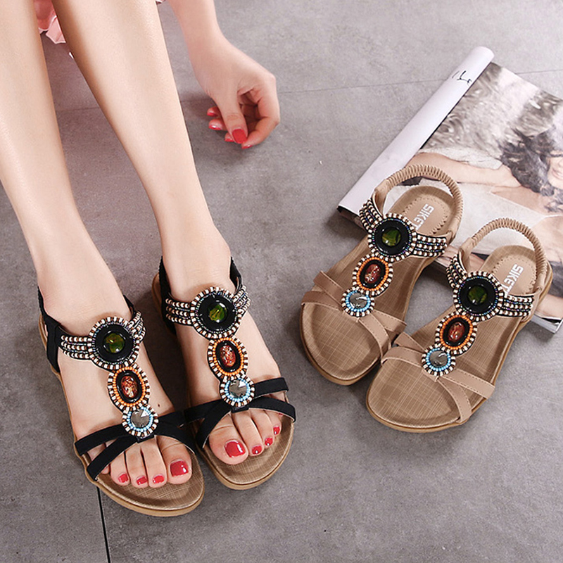 ФОТО In the Summer of 2017 the New Sandals Flat Flat Beads Ethnic Students Peep-toe Bohemia Wind Sandals Big Yard