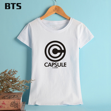 BTS Dragon Ball T-shirt Woman Basic T Shirt Women Summer Short Sleeve High Quality Breathable Cotton Tees And Tops Female XL