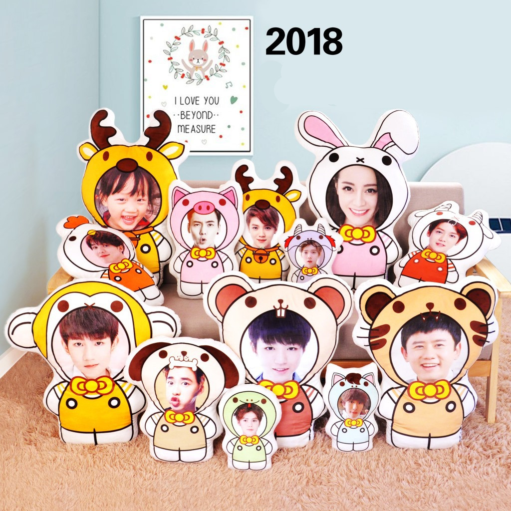 2018 DIY creative photo pillow cartoon doll almofada valentines day gift neck pillow travel pillow neck wedding decoration