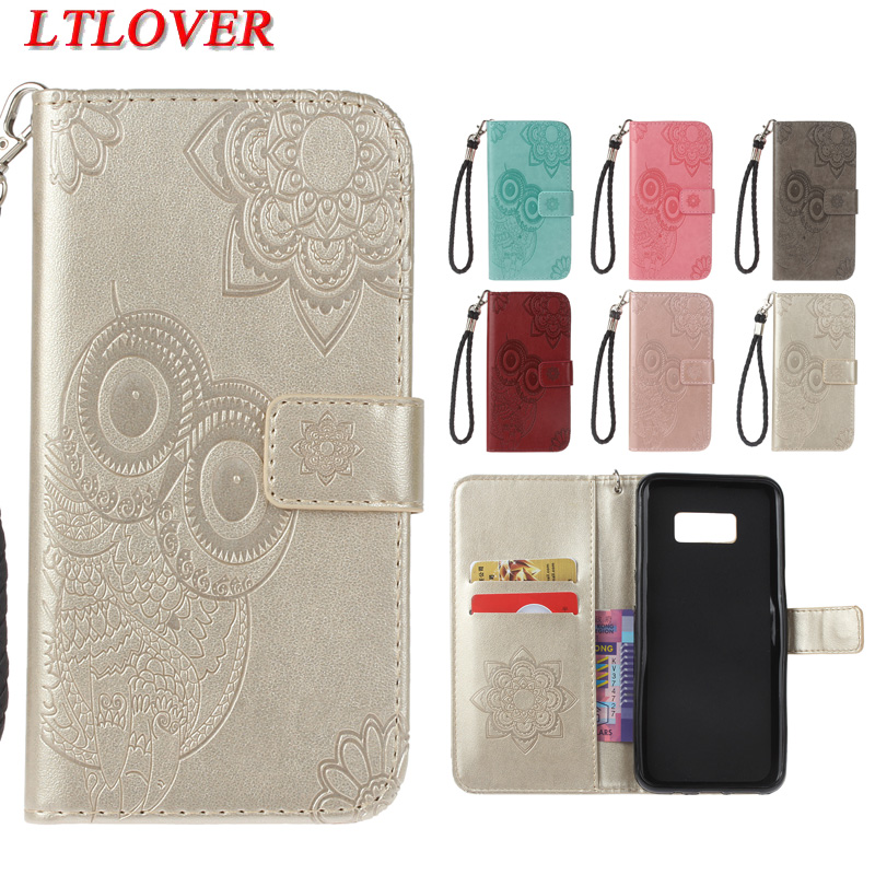 High quality owl embossed fashion Anti knock pu leather phone case For Samsung Galaxy S8 Plus 6.2 wallet stand Hand rope cover