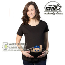 Summer Maternity Funny Baby Peeking Out T Shirts Black  Pregnant Women Tops Tees Clothes Pregnancy Mommy Wear Clothing Hot Sale