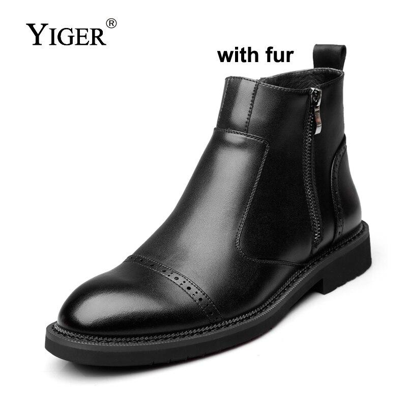 Chaussures Chaudes Nouveau Chelsea Homme Black Hommes Zip Boots black Men Pour Autunm hiver Fur Yiger Mâle Bottes 0155 Bottines With Martins Noires xvdX7nqw