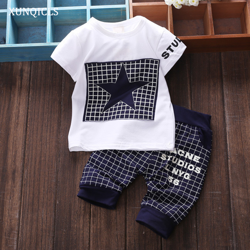 Xunqicls Summer Baby Boys T-shirt + Shorts 2pcs Suit Star Printed Toddler Cotton Tops Pants Kids Casual Outfit Clothing Set 2pcs children outfit clothes kids baby girl off shoulder cotton ruffled sleeve tops striped t shirt blue denim jeans sunsuit set