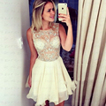 Beautiful Beading Cocktail Dress Short Chiffon Prom Dress Knee Length A Line Cocktail Party Dress vestido de festa curto Dresses