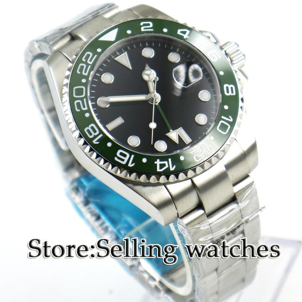 лучшая цена Luxury Brand parnis Mechanical Watches 43mm black sterile dial Green GMT Green Ceramic Bezel sapphire glass automatic mens watch