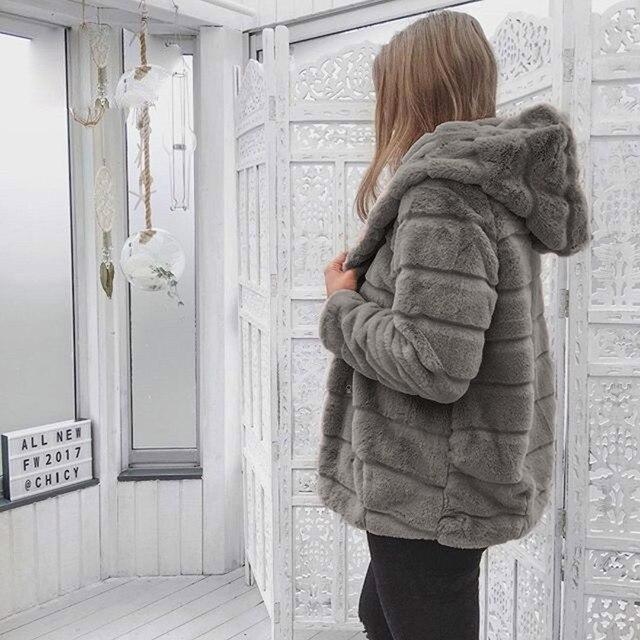 Women Faux Fur Jacket Winter Warm Coats 2018 Women Mink Coats Winter Hooded New Jacket Warm Thick Outerwear Jacket 2