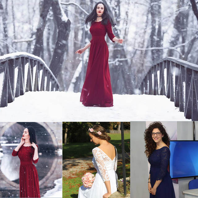 41f0741ff6f24 US $35.39 40% OFF|Evening Dresses Ever Pretty 8412 Women Royal Blue A line  Elegant 3/4 Sleeve Lace Long 2018 Winter Autumn Chiffon Party Dresses-in ...