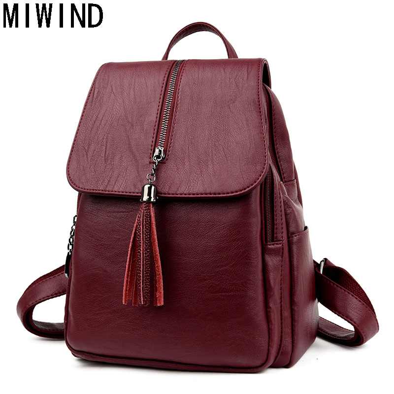 MIWIND High Quality Fashion Women Backpacks Soft Leather shoulder bag For Teenage Girls Travel Bag School Bags back pack T1153
