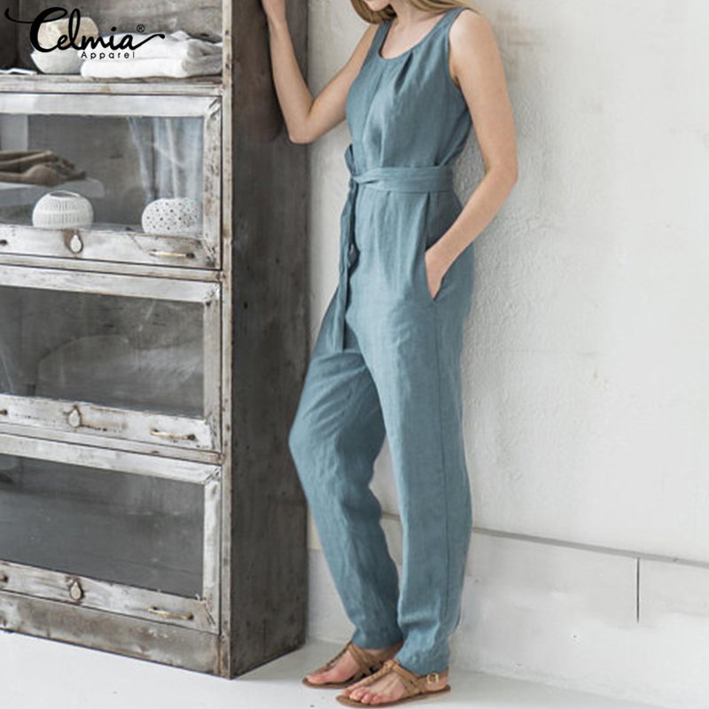 7a5e245ae0e5 ... Celmia Women Jumpsuit 2018 Summer Trouser Office Work Harem Pants  Sleeveless Rompers Elegant Casual Linen Overalls Palazzo 5XL. -30%. Click  to enlarge