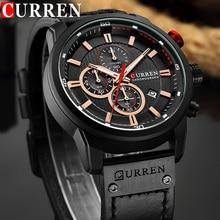 relogio masculino CURREN Men Watch Top Brand Luxury Chronograph Waterproof Sport Male Clock Leather Military New Wristwatch 8291