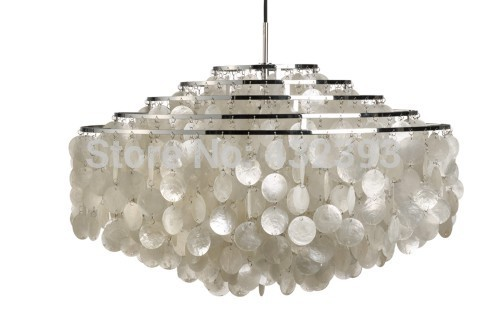 Modern Chandeliers White Capiz Shell Lampshade Lustres Pendant Lamps Living Room Hanging Lamp Light Fixtures E27 Dia70cm