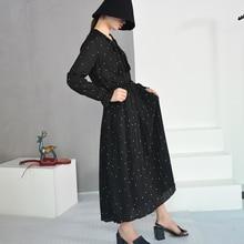 [EAM] 2018 New Autumn Round Neck Long Sleeve Solid Black Chiffon Dot Loose Big Size Dress Women Fashion Tide JA23601M