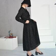 فستان أسود منقط شيفون كريب غير شفاف بأكمام طويلة