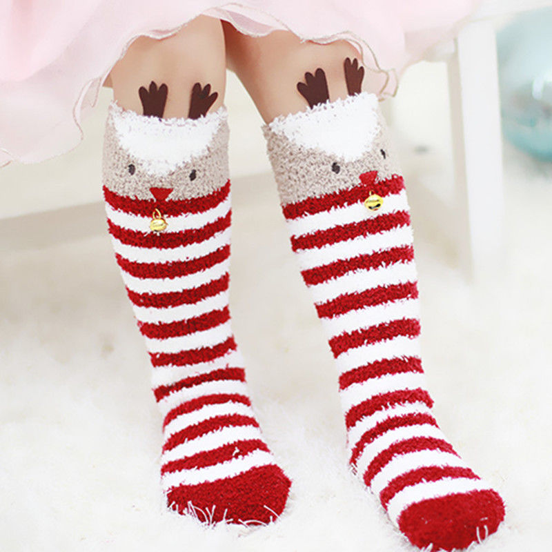 1-5Y Christmas Baby Girls Socks Cartoon Knee High Princess Socks Winter Warm Sock Hot