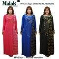2016 recién llegado de bordado abaya islámico hijab malasia vestido largo para la mujer