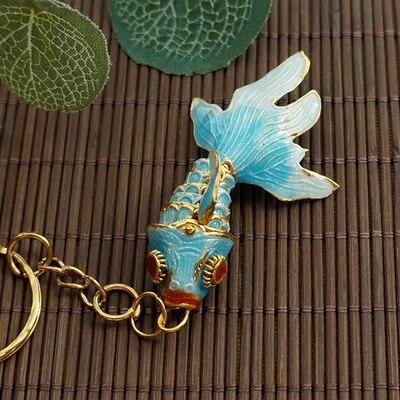 Маленький креативный эмалированный брелок с золотой рыбкой, брелок с рыбкой, китайский этнический перегородчатый ювелирный аксессуар, брелок, Подарочная подвеска-Шарм - Цвет: light blue