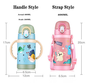 Image 2 - Tasse de paille pour enfants 450 ML 400 ML avec poignée biberon double usage Portable sangle corde dapprentissage tasses à boire Tritan sans BPA