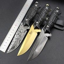 Cold Steel Non Folding Black Blade Knife 21cm Utility Knife Steel Hanlde Tactical Knives For Hunting