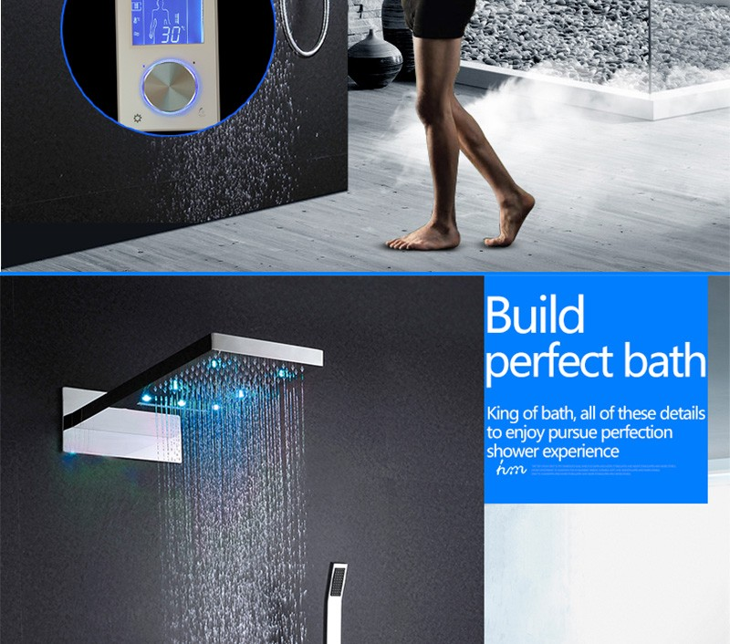 Digital Thermostat Waterfall Shower Controller Touch Control Panel Large SUS304 Rainfall Massage Bathroom Celling  (2)