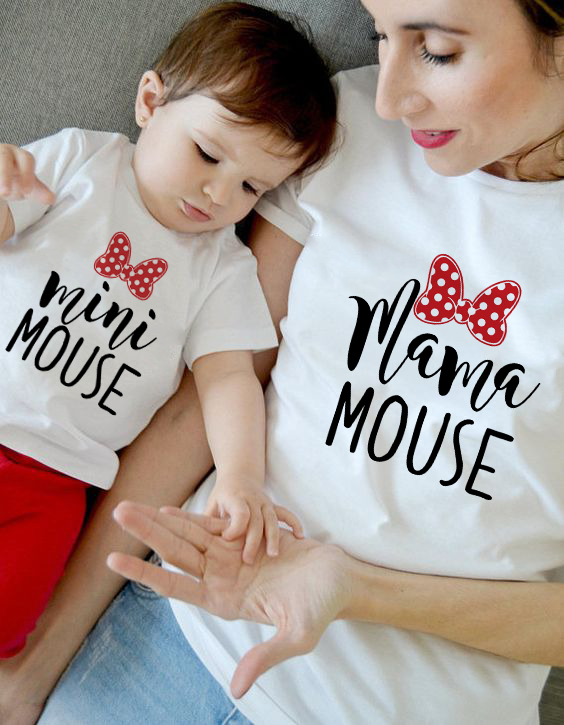 Mommy And Me Clothes Mama Girls Tshirts Mom Daughter Family Matching Tee Christmas Summer Shirt Mini Cute Tshirts Funny