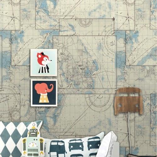 Sea Map World Nautical Mural Wallpaper Hero Boy Baby Vintage PVC Decorative Wall for Kids Room papel de parede roll DZK173