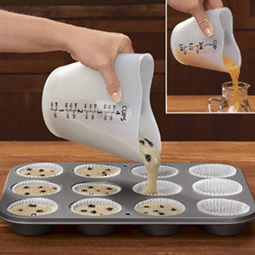 Chaud 500 ml amour coeur remuer Pour tasse à mesurer Silicone résistant à la chaleur cuisine cuisson bricolage outil
