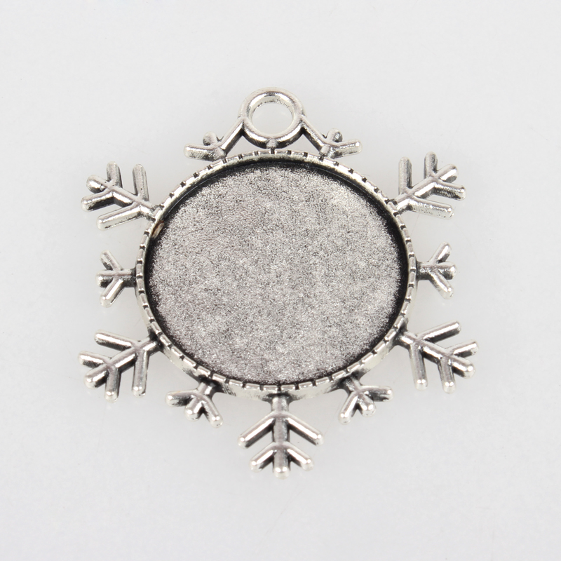 DIY Antique Silver Christmas Alloy Double Sided Snowflake Pendant Cabochon Settings,Flat Round Tray: 25mm; 43x38x2mm, Hole: 4mm
