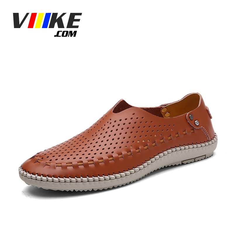 Viiikecom Brand Summer Causal Shoes Men Loafers Genuine Leather Moccasins Men Driving Shoes High Quality Flats For Man size Blue