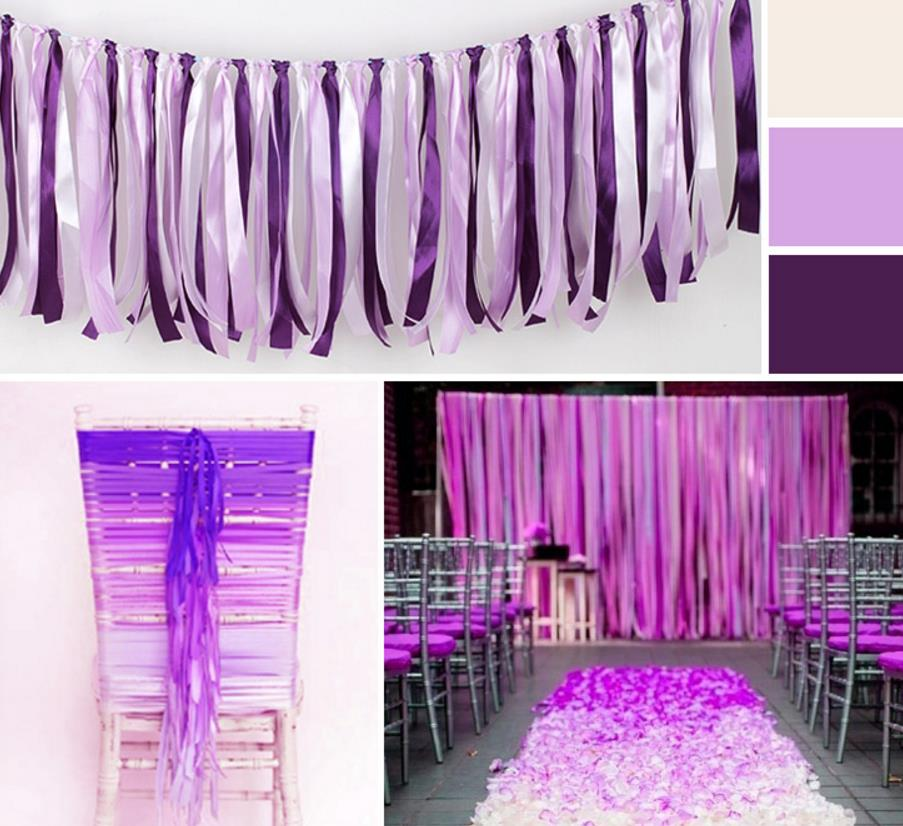 393inch Wedding banner decoration satin ribbon tassel garland