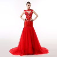 100% Real Photo Elegant Red Evening Dress New Arrival Mermaid Sheer Top Tulle Lace Long Vestido De Formatura Longo Vermelho