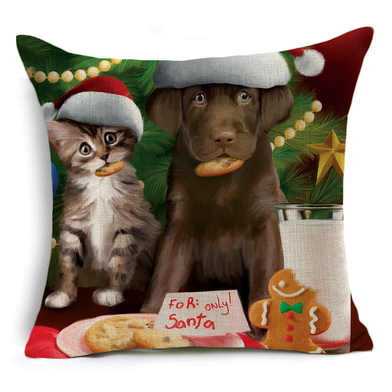 Homing Linen Cotton Cartoon Merry Christmas Deer Snowman Pillow Case Cushion Cover Modern Cozy Car Seat Pillow Cover Home Decor