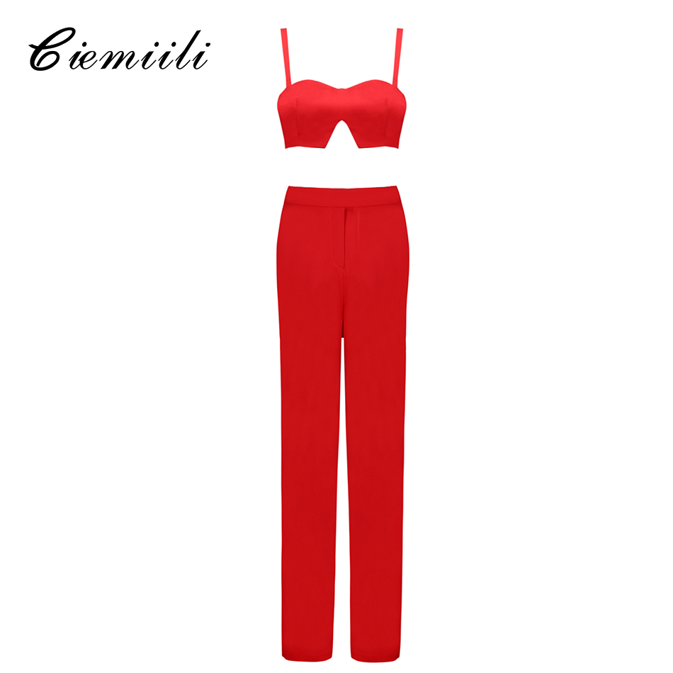 CIEMIILI Women Sexy Bandage Bodycon Jumpsuits 2 Two Pieces Set Flare Lady Runway Suits Top and Pant Casual Pants Suits Set