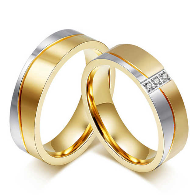 5a100b812a Classic Gold Color Titanium Steel Wedding Bands Promise Couple Rings Sets  Alliances Marriage Gift