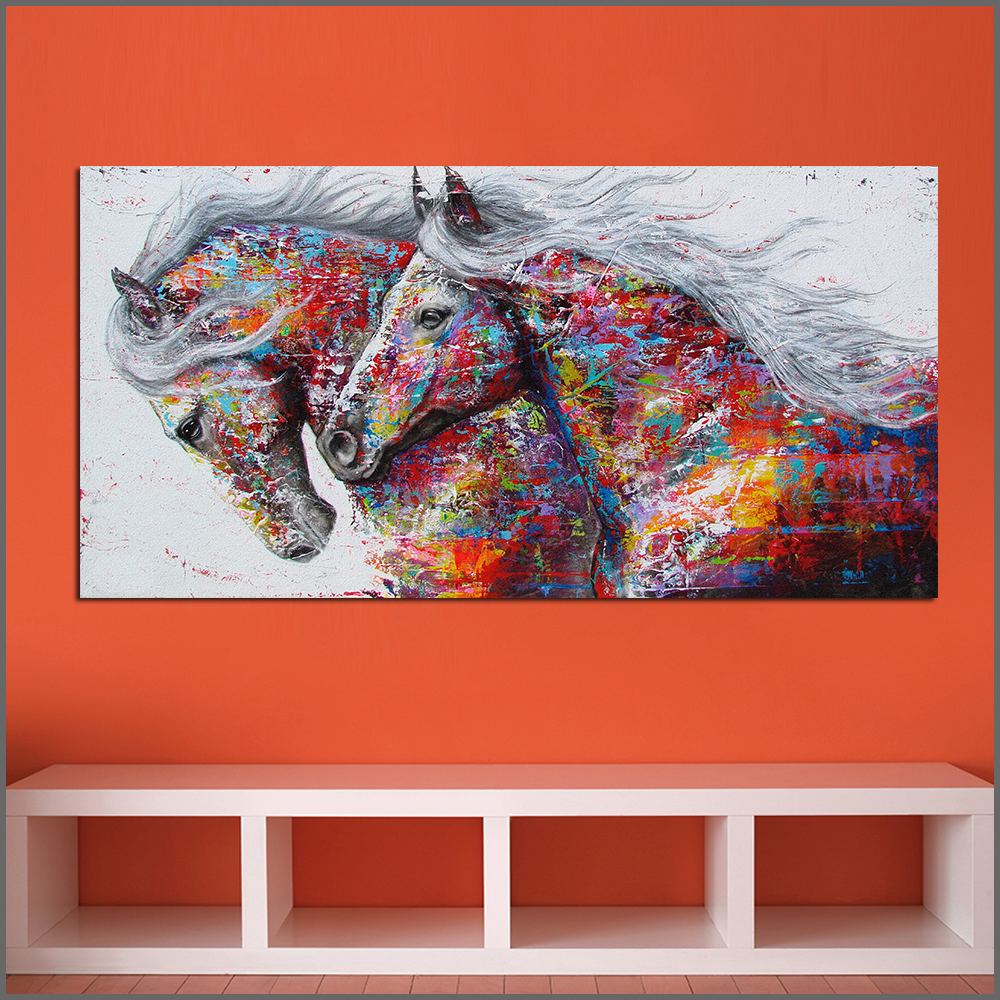 Large Printing Abstract Wonderful Two Horses Wall Art