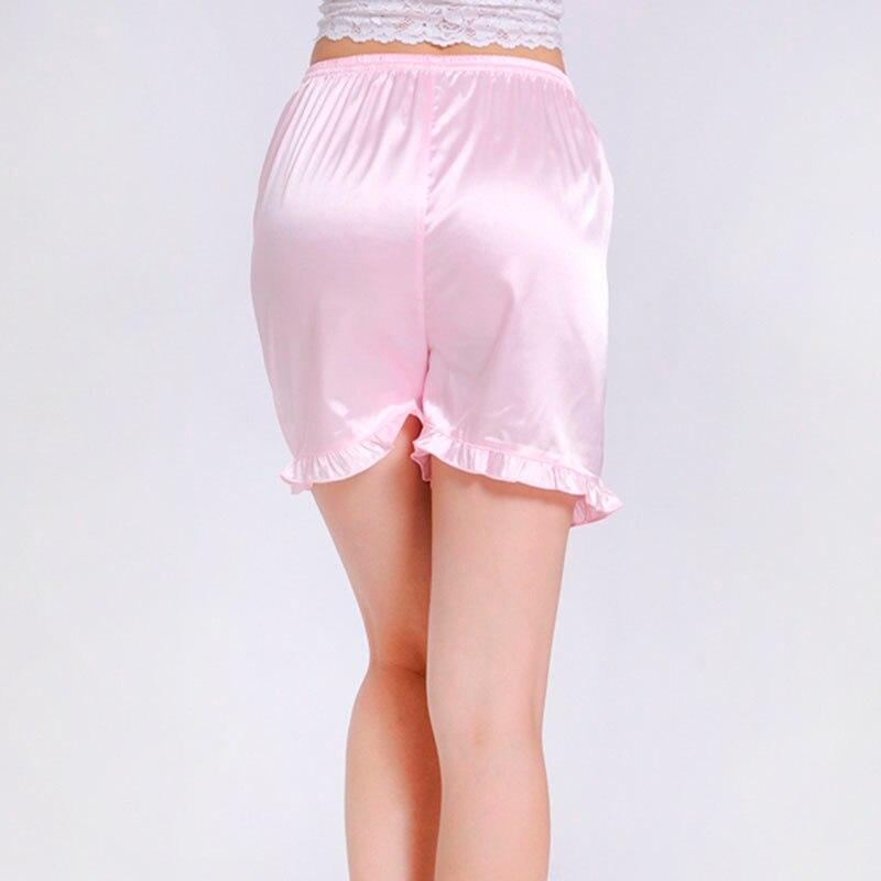 Women Faux Silk Casual Sleep Bottoms Solid Ruffled Mid Waist 7 Colors Elastic Waist Short Sleep Pants Plus Size S-3XL 035-022 5