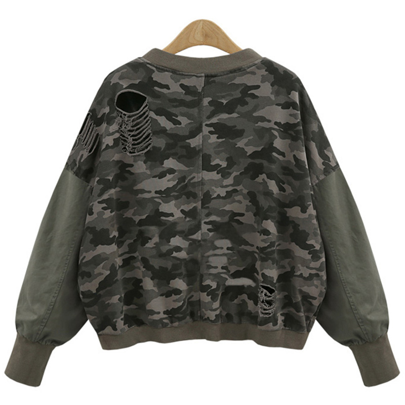 High Quality Women Basic Jackets Female Motorcycle Camouflage Jacket Coat Zipper Windbreaker Coats Hip Hop Broken Hole Jacket