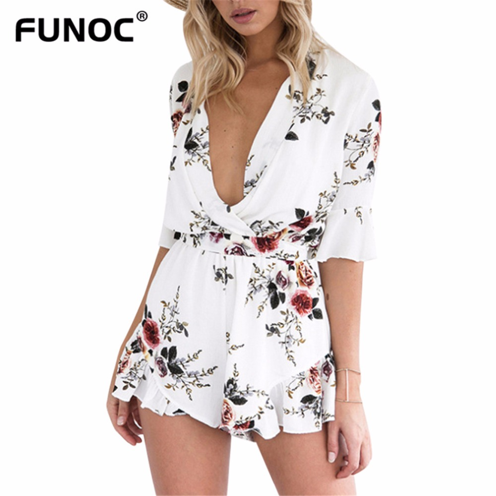Funoc New Sexy Deep V neck Floral Print Chiffon Boho Floral Jumpsuit Romper Ladies Beach Overalls Sexy Playsuits Vestidos Mujer
