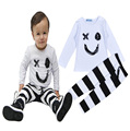 new autumn boys clothing sets long sleeve smile face t shirt+stripe pants boy clothing Set new 2016 autumn clothing set for boy
