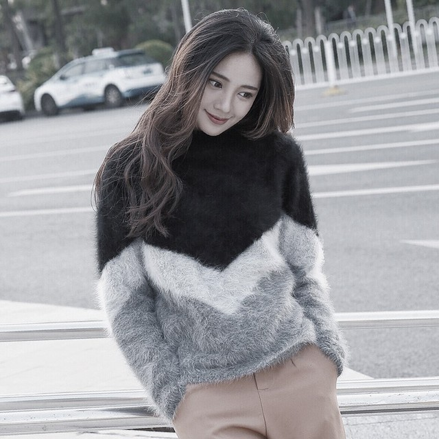 c2a74e9e71e0 LOVELY-JINNUO femmes hiver chaud vison pull en cachemire moelleux 100% vison  pull en cachemire chandail Multi couleur couture JN610