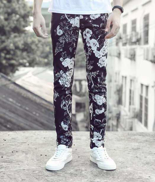 Street black floral printing feet pants man fashion true jeans men famous brand mens pants skinny