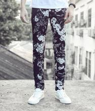 Street black floral printing feet pants man fashion true jeans men famous brand mens pants skinny jeans men straight trousers 1